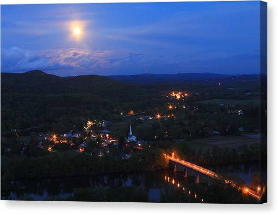 Sunderland Canvas Print - Mount Sugarloaf Full Moon Over Sunderland by John Burk
