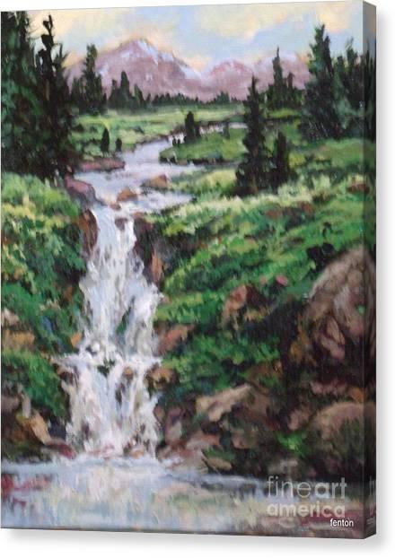Mountain Cascade Canvas Print by W  Scott Fenton