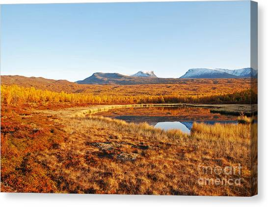 Mountain In Autumn Canvas Print by Conny Sjostrom