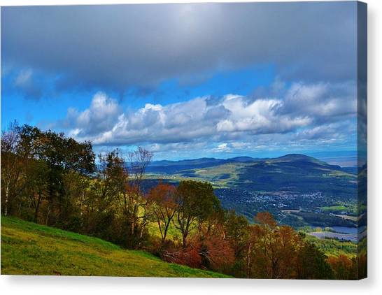 mountain sky Quebec Canvas Print by Josee Dube