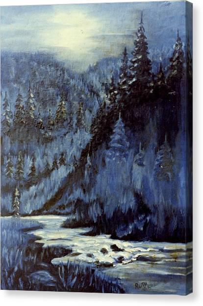Mountain Stream In Moonlight Canvas Print