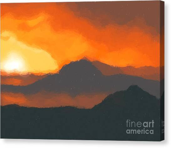 Mountain Sunsets Canvas Print - Mountain Sunset by Pixel  Chimp