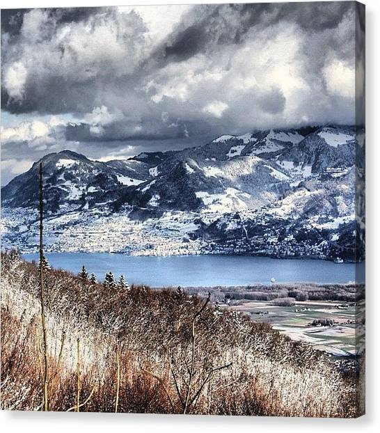 Swiss Canvas Print - #mountains #clouds #sky #lake by Luca Robi