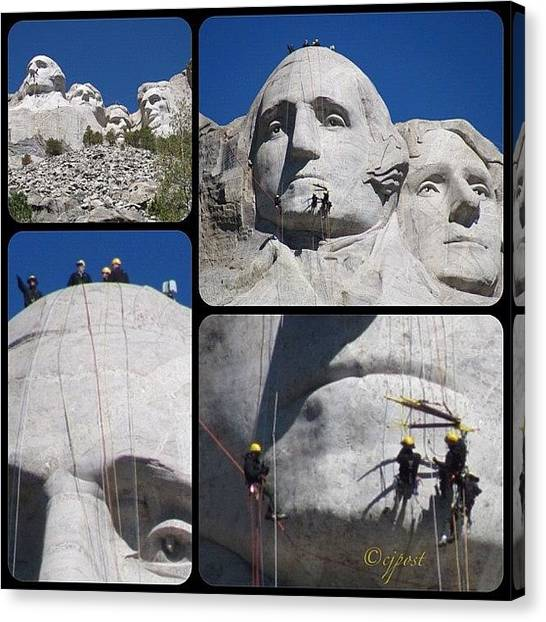 Repairs Canvas Print - #mountrushmore #nofilter by Cynthia Post
