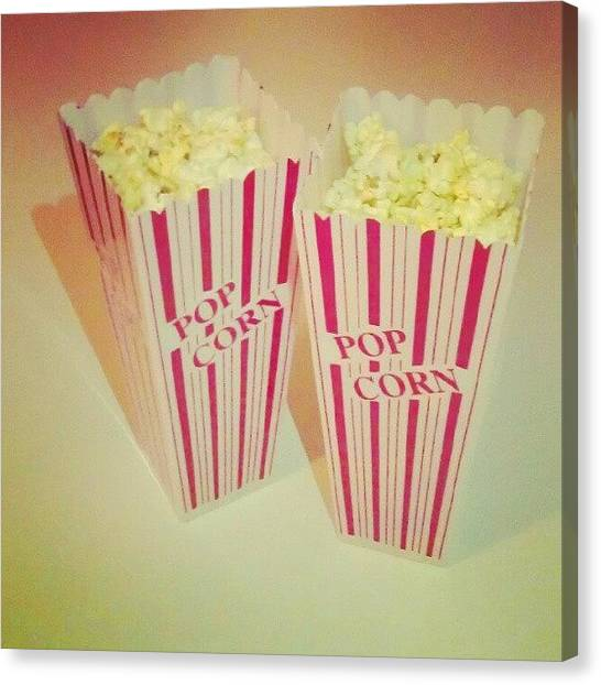 Popcorn Canvas Print - Movie Time! #popcorn #munchies #yummy by Kristal Cooper
