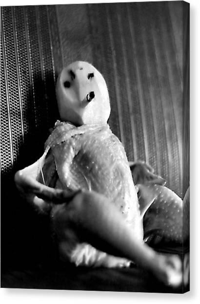 Mr. Chicken Potato Head Takes A Smoke Break In The Back Seat Of My Car Canvas Print
