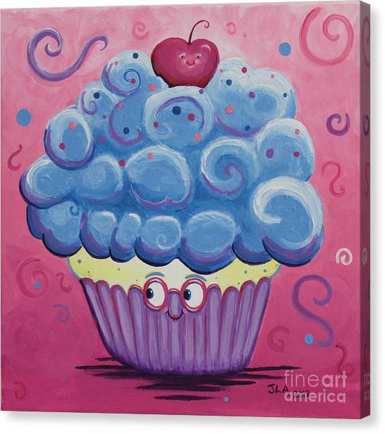 Mrs. Blue Cupcake Canvas Print by Jennifer Alvarez