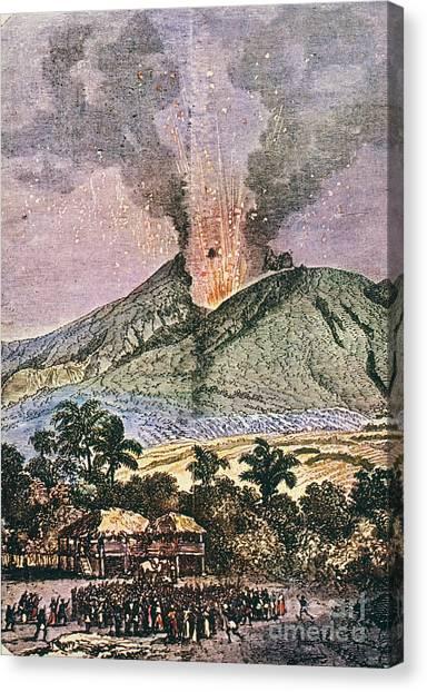 Mount Pelee Canvas Print - Mt. Pelee Eruption, 1851 by Granger