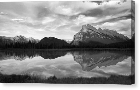 Mt. Rundel Reflection Black And White Canvas Print by Andrew Serff