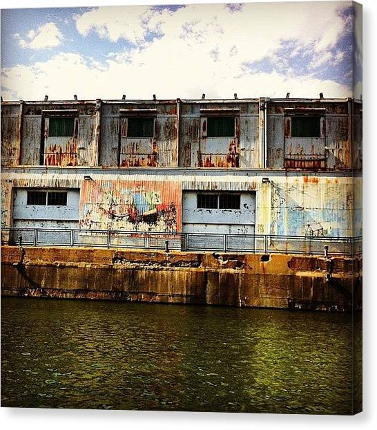 Warehouses Canvas Print - #mtl #montreal #eau #water #warehouse by Nicolas Marois