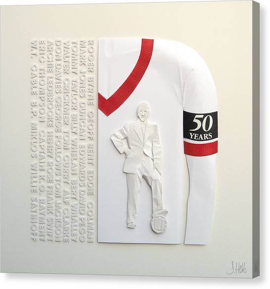Mufc Munich Crash 50 Year Anniversry Canvas Print by John Hebb
