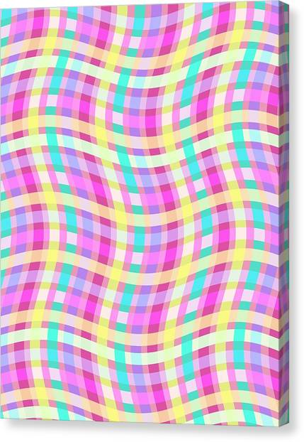 Chequered Canvas Print - Multi Check by Louisa Knight
