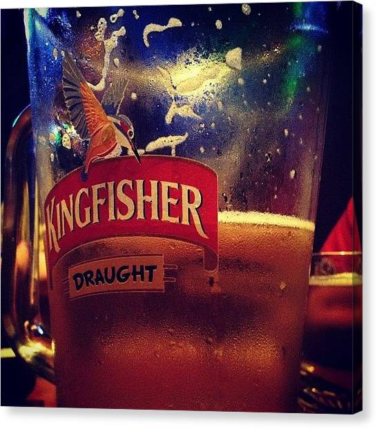 Kingfisher Canvas Print - #mumbai #leopold #cafe #colaba #beer by Sahil Gupta