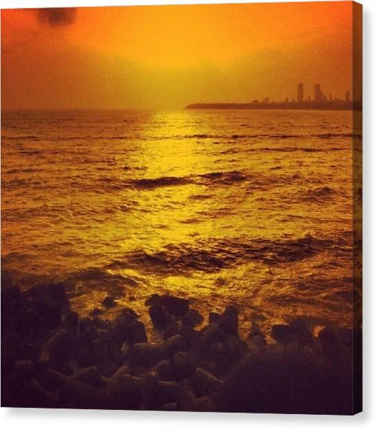 Marines Canvas Print - #mumbai #marine #marinedrive #water #sea by Karan Mehta