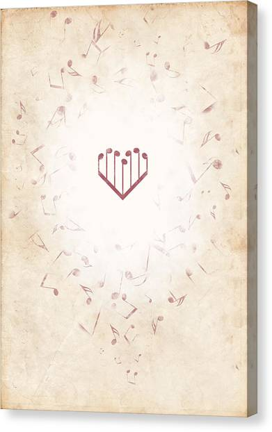Music Heart Warm Canvas Print by Luka Balic