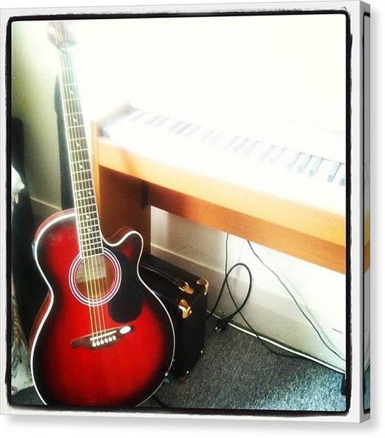 Keyboards Canvas Print - Music Room #guitar #keyboard #piano by Tabitha Horton