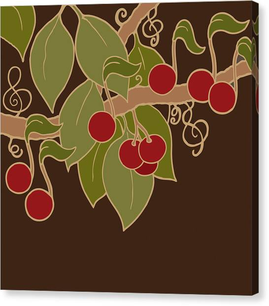 Musical Cherries Canvas Print