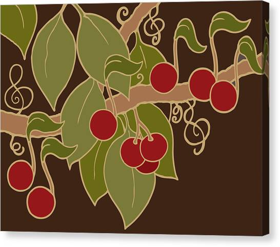 Musical Cherries Rectangle Canvas Print