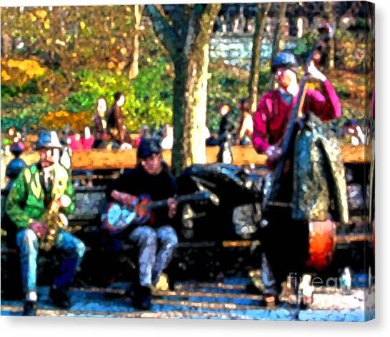 Musicians In Central Park Canvas Print by Anne Ferguson