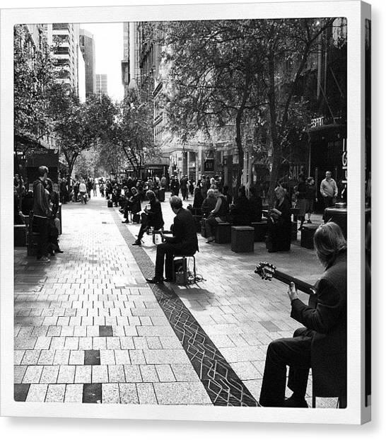 Australian Canvas Print - Musicians In Pitt St Mall by Carl Sevitt