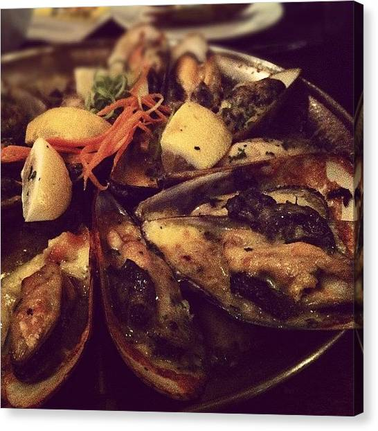 Seafood Canvas Print - Mussels Poullette by Odie Ysn
