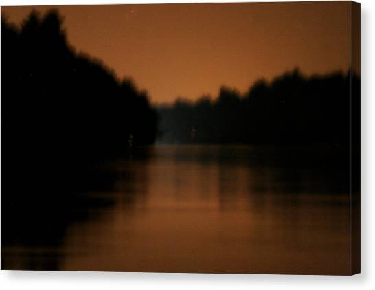 Muted River Moon Shine Canvas Print by Artist Orange