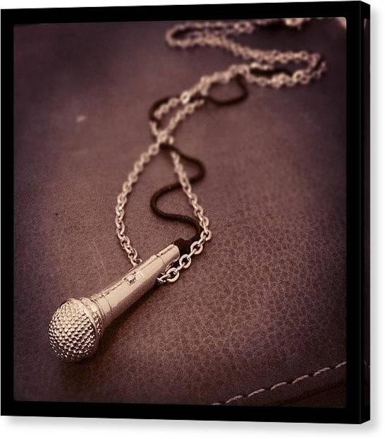 Microphones Canvas Print - My Bro Got Me An #awesome #necklace by Vincy S