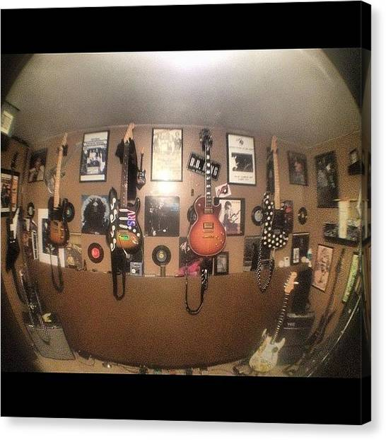 Fender Guitars Canvas Print - My Brothers #guitar Room #gibson by Mike Meissner