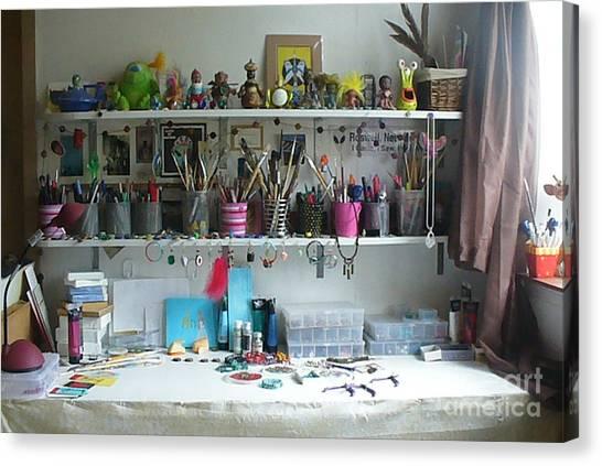 My Desk On A Slow Day Brooklyn Alien Art Canvas Print by Kristi L Randall
