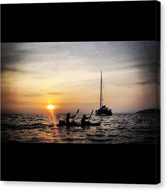 Kayaks Canvas Print - My Friend And I Paddling In Tonsai by Niels Rasmussen