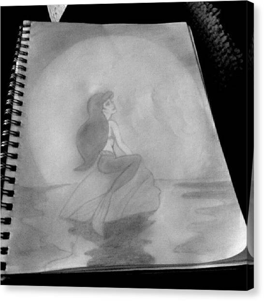 Mermaids Canvas Print - My Incomplete Drawing Of Ariel ^.^ #ig by Andrea Nicole Meza