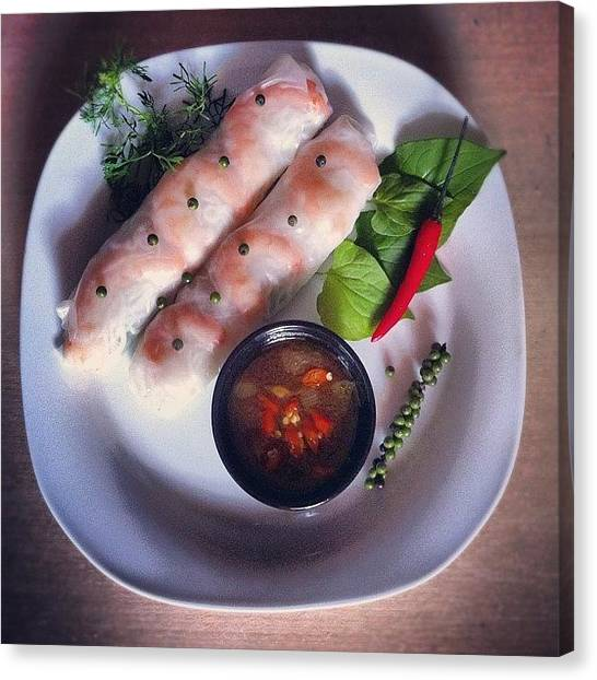 Salad Canvas Print - My Lunch: Springrolls Vietnamese by Rohiem Ab