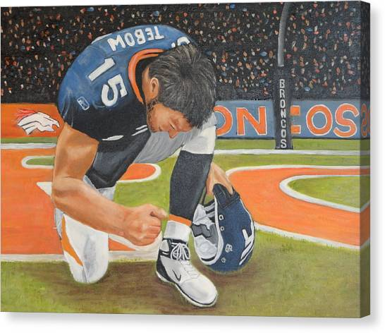 My Man Tebow Canvas Print by Lynette Brown