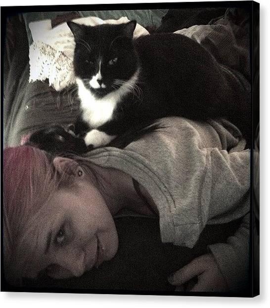 Tuxedo Canvas Print - My Massage Therapist Is A Cat by Jenni Pixl