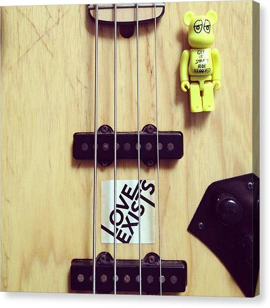 Bass Guitars Canvas Print - My Recording Buddy For The Day by Gabriel Kang