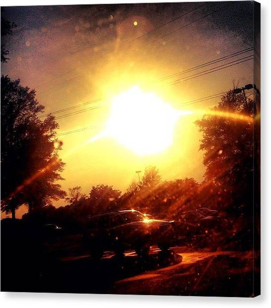 Sun Canvas Print - My Windshield Is So Dirty #cary #sky by Katie Williams