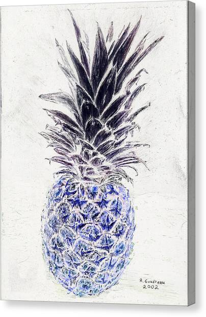 Mysterious Blue Pineapple Canvas Print by Robert Goudreau