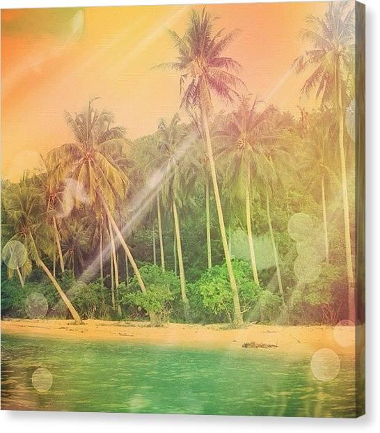 Pastel Canvas Print - mystical #beach 🌴☀🌴 by Liana Gunawan
