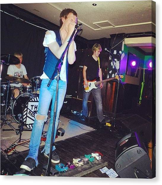 Bass Guitars Canvas Print - #naddiks #guitar #drums #bass #boys by Kristin Archie