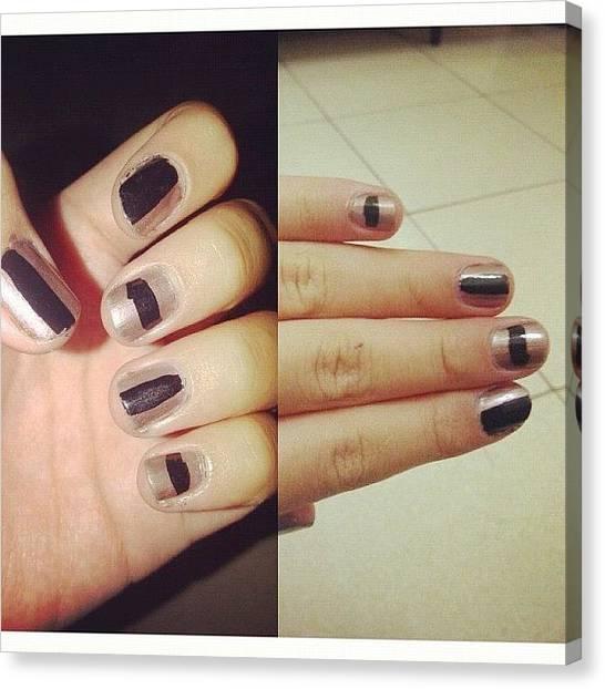 Fingers Canvas Print - #nailart #nails #art #nailpolish #black by Nares Anindya