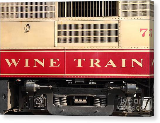 Napa Valley Railroad Wine Train In Napa California Wine Country . 7d8988 Canvas Print by Wingsdomain Art and Photography