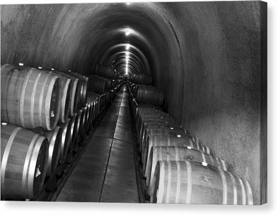 Napa Wine Barrels In Cellar Canvas Print