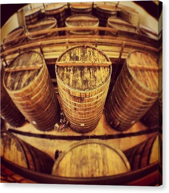 Wine Barrels Canvas Print - #napa #wine #barrels #instahub by Erik Merkow