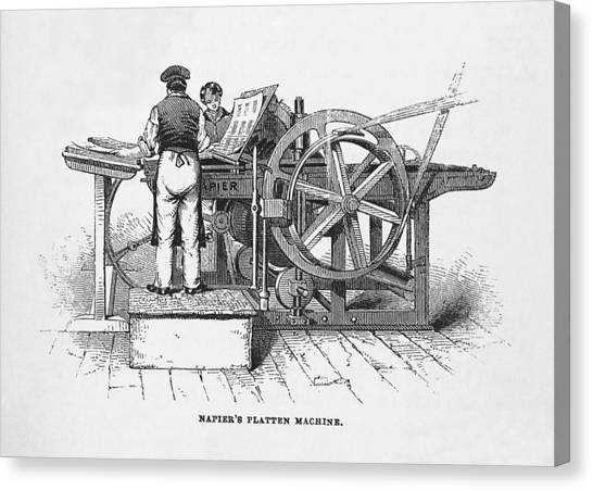 Napier's Printing Machine Canvas Print by Science, Industry & Business Librarynew York Public Library