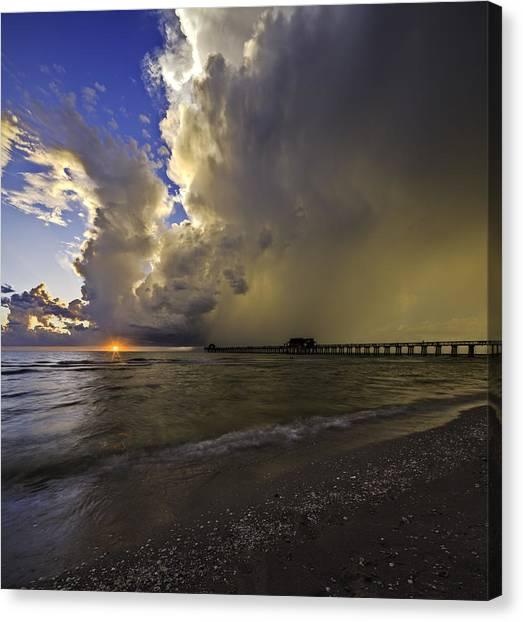 Naples Pier Storm Sunset Canvas Print