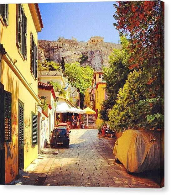 The Acropolis Canvas Print - Narrow Street In The Plaka Neighborhood by Dimitre Mihaylov
