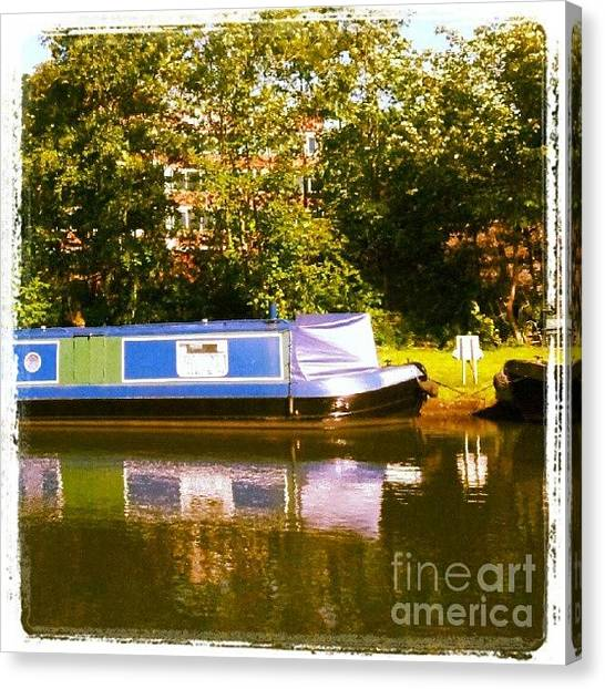 Holidays Canvas Print - Narrowboat In Blue by YoursByShores Isabella Shores