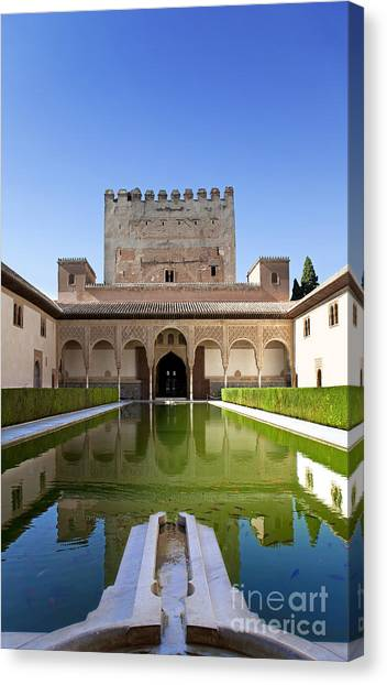 Alhambra Canvas Print - Nasrid Palace From Fish Pond by Jane Rix