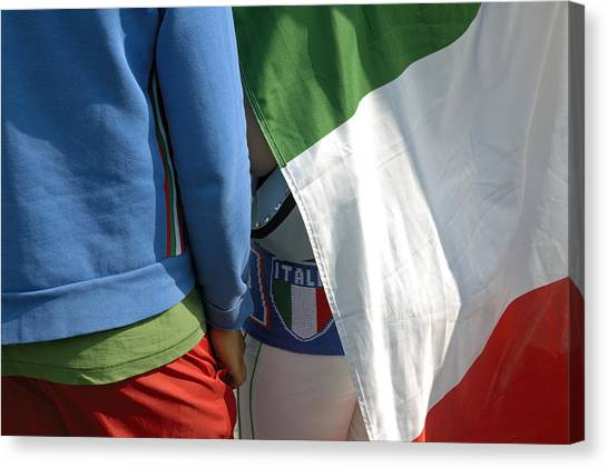 National Colors Of Italy - Green White And Red Canvas Print by Matthias Hauser
