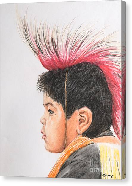 Native American Boy With Headdress Canvas Print